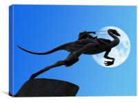 Veloceraptor Silhouette, Canvas Print