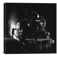 Steam loco fireman climbing aboard, Canvas Print