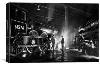 Steam loco crew stop for a chat at night., Canvas Print