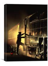 Fireman in Silhouette, Canvas Print