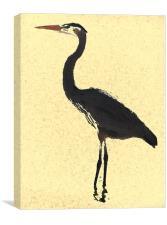 Heron wading in ocean, Canvas Print