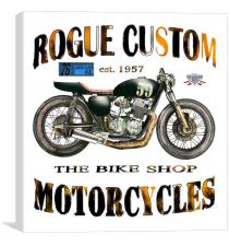 Rogue Custom Motorcycles , Canvas Print
