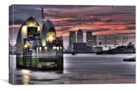 THAMES BARRIER SUNSET, Canvas Print