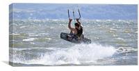 Kite surfing on Llanelli beach, Canvas Print