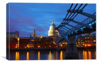 St Pauls Cathedral & Millennium Bridge, Canvas Print
