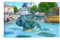 Trafalgar Square Fountain, Canvas Print