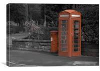 Lymm  Phonebox & Pillar Postbox, Canvas Print