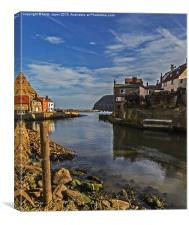 Harbour Entrance Staithes Portrait, Canvas Print