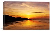 Saltburn Beach Sunset, Canvas Print