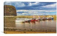 Boats In Staithes Harbour, Canvas Print