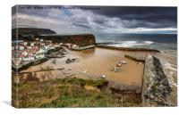 Staithes from the East cliff, Canvas Print