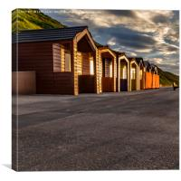 Saltburn beach huts at sunset, Canvas Print