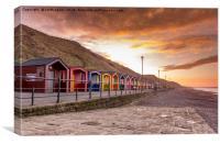 Saltburn beach huts at sunset, Canvas Print