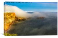 Saltwick Bay as the fog rolls in , Canvas Print