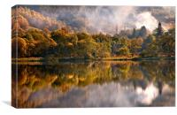 Playing Mirror. Loch Achray. Scotland, Canvas Print