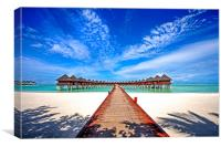 Water Villas at Resort Olhuveli. Maldives, Canvas Print