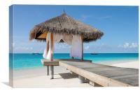Romantic Hut with Light Ocean Breeze. Maldives, Canvas Print