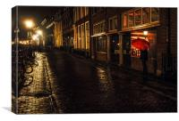 Night Lights of Utrecht. Orange Umbrella. Netherla, Canvas Print