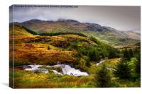 Moody Scenery. Rest and Be Thankful. Scotland, Canvas Print