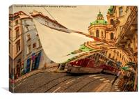 Turn the Page of Past Day. Prague Streets, Canvas Print