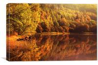 Fall Reflections. Loch Achray. Scotland , Canvas Print