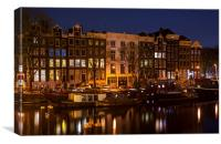 Night Lights on the Amsterdam Canals , Canvas Print