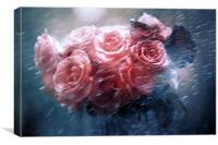 Rain Red Roses Nostalgia, Canvas Print