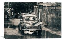 RetroMobile. Morris Minor. Vintage Monochrome, Canvas Print