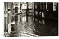 Rhythms of Amsterdam Reflections. Black and White, Canvas Print