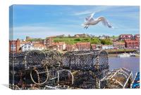 Sea birds over Whitby Harbour, Canvas Print