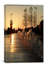 Sunset Fountains, Canvas Print