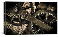 Old Steam Machine Gear work, Canvas Print