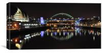 Newcastle Quayside by night, Canvas Print