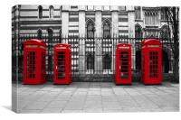 Classic Red Telephone Kiosks, Canvas Print