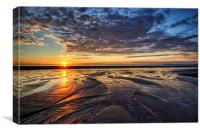Sunset on Cleveleys Beach, Canvas Print