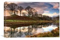 Sunset Skies On The River Brathay, Canvas Print