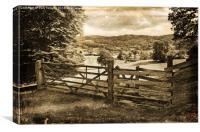 Sepia Veie Past the Country Gate, Canvas Print