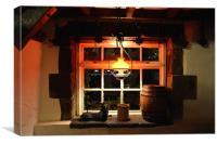 ThOwd Tithe Barn Pub Window, Canvas Print