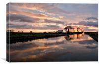 Sunset Reflections On The Lancaster Canal, Canvas Print