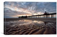 Last Light On The Beach By North Pier, Canvas Print