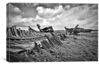 Mono Wrecks Fleetwood Marsh, Canvas Print