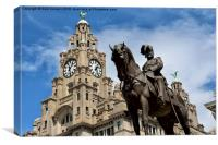 Edward VII Statue and Liver Building Liverpool, Canvas Print