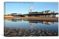 Golden Light On Blackpool Beach, Canvas Print