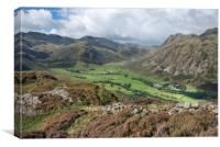 Lingmoor Views of Bowfell and the Langdale Pikes, Canvas Print