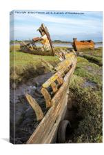 River Wyre Abandoned Boats, Canvas Print