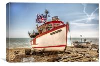 Boat on Deal beach, Canvas Print