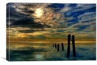 Sandsend Groynes at Sunrise, Canvas Print