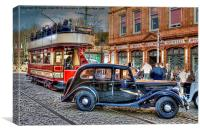 Paisley Tram and Wolseley 18, Canvas Print
