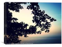 Sea view through branches devon, Canvas Print