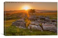 Sunset over Winskill Stones at Langcliffe, Yorkshi, Canvas Print